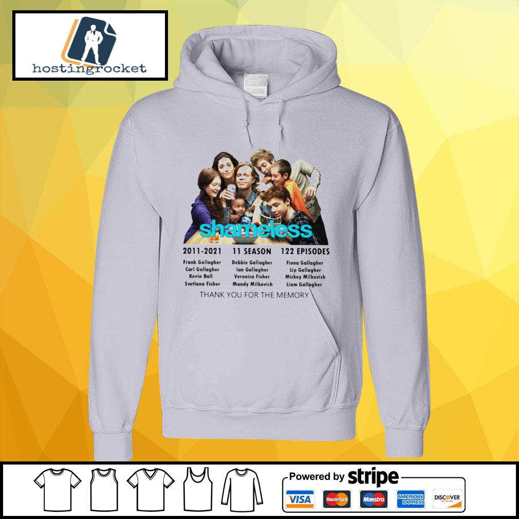 Shameless 2011 2021 11 season 122 episodes thank you for the memory hoodie