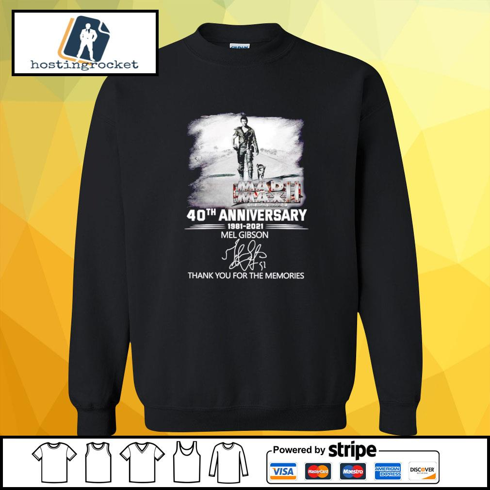 40th Anniversary 1981 2021 Mel Gibson thank you for the memories signature sweater