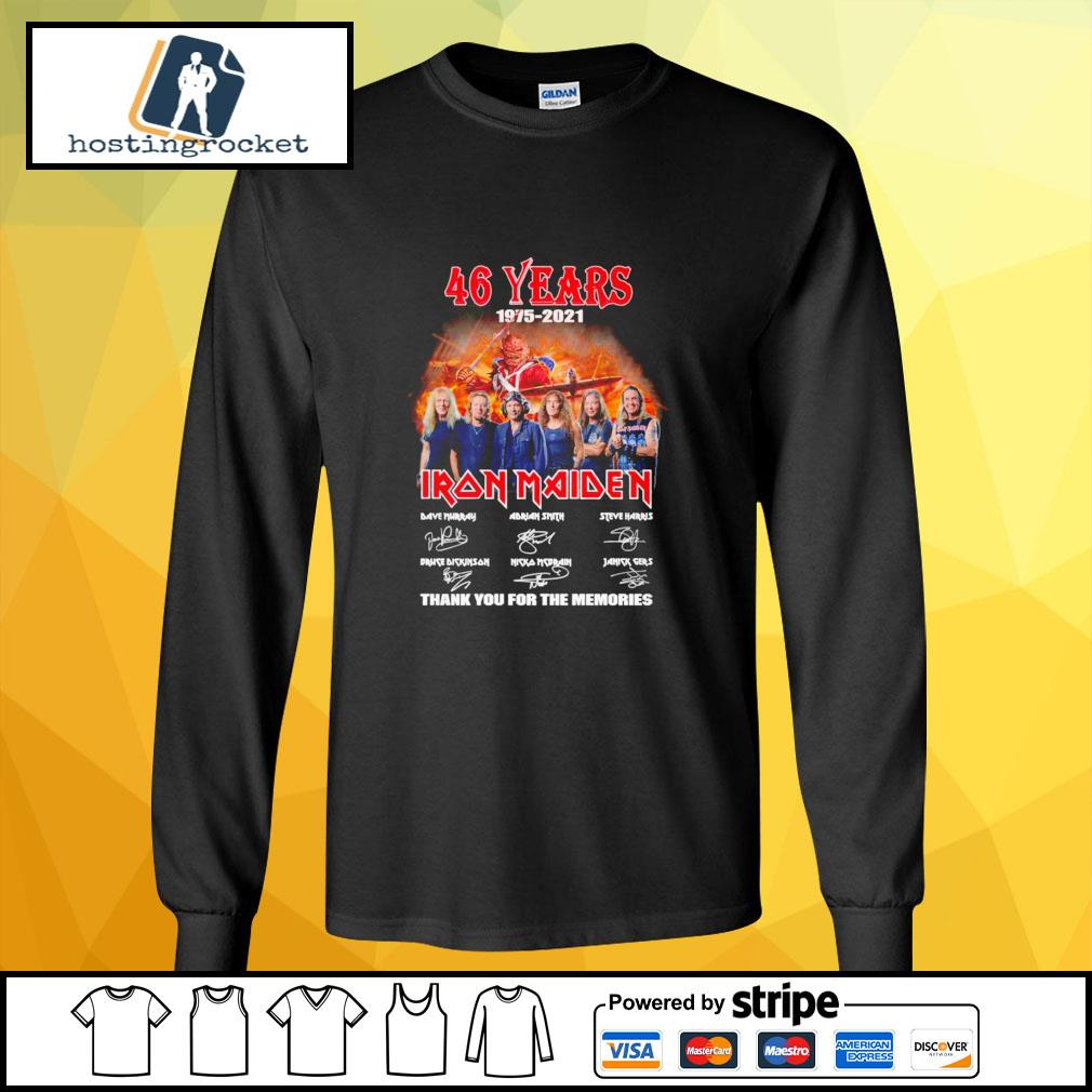 46 years 1975 2021 Iron Maiden thank you for the memories signature longsleeve-tee