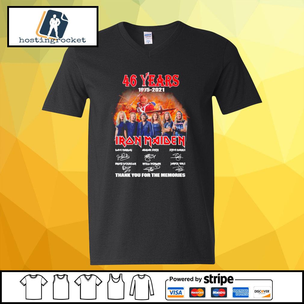 46 years 1975 2021 Iron Maiden thank you for the memories signature v-neck-t-shirt