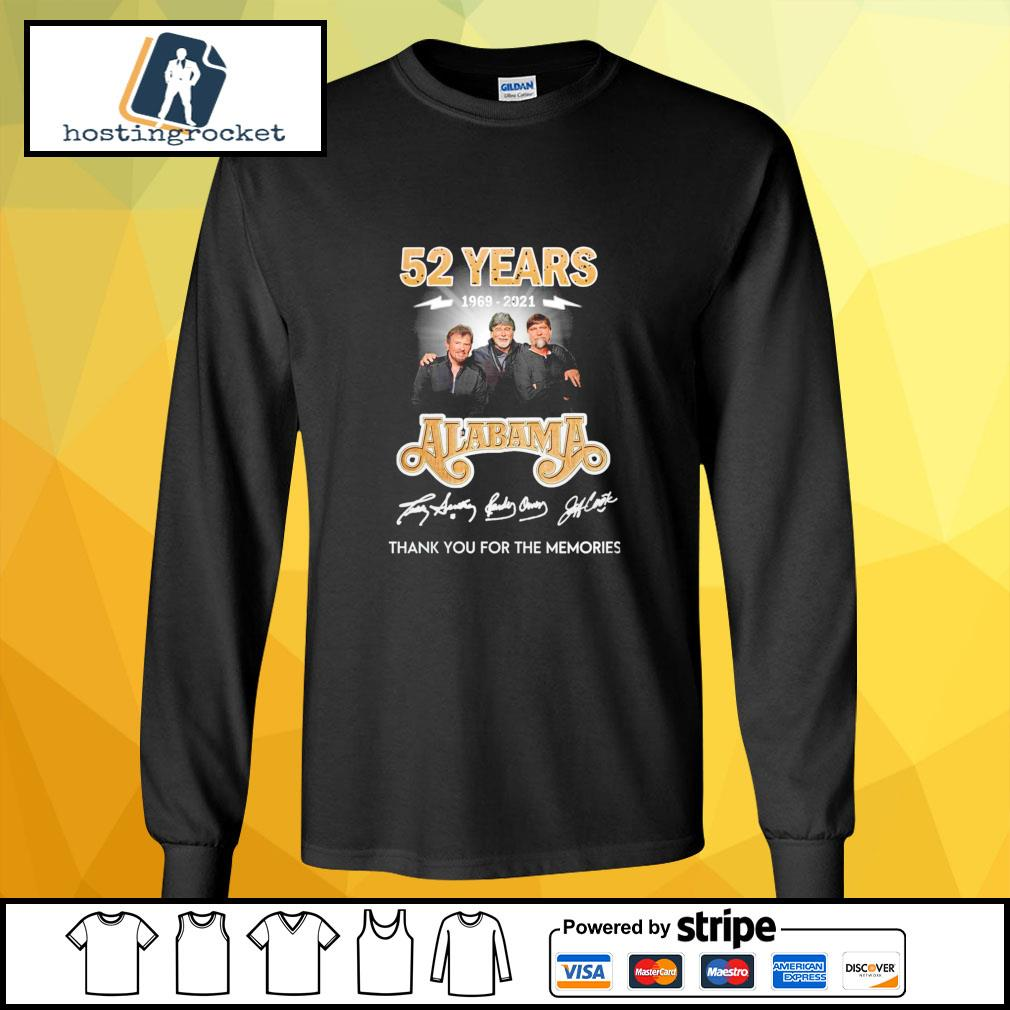 52 years 1969 2021 Alabama thank you for the memories signature longsleeve-tee
