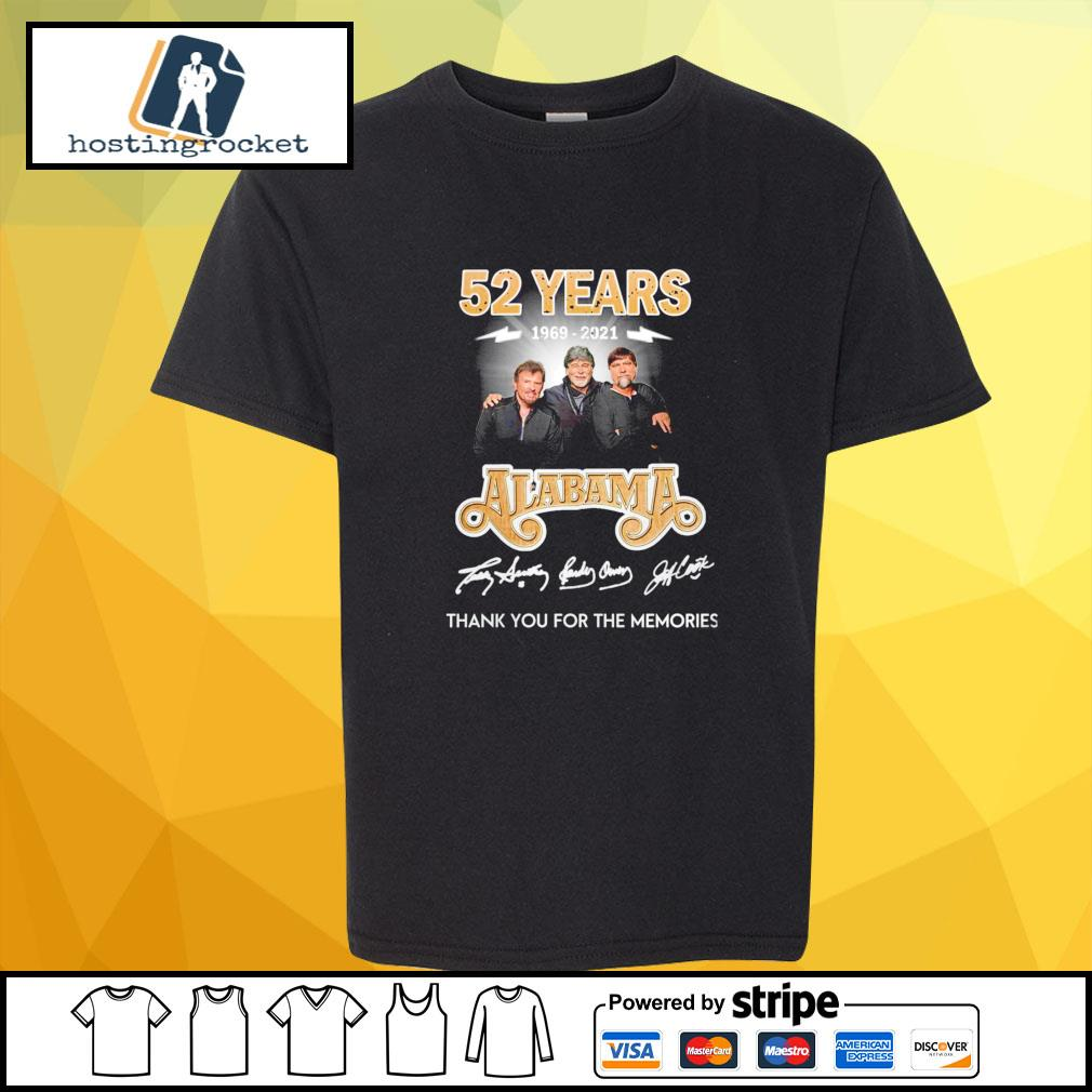 52 years 1969 2021 Alabama thank you for the memories signature shirt