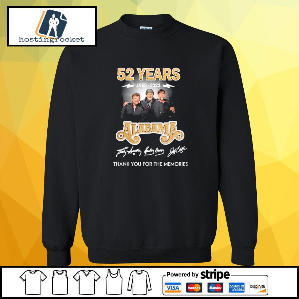 52 years 1969 2021 Alabama thank you for the memories signature sweater