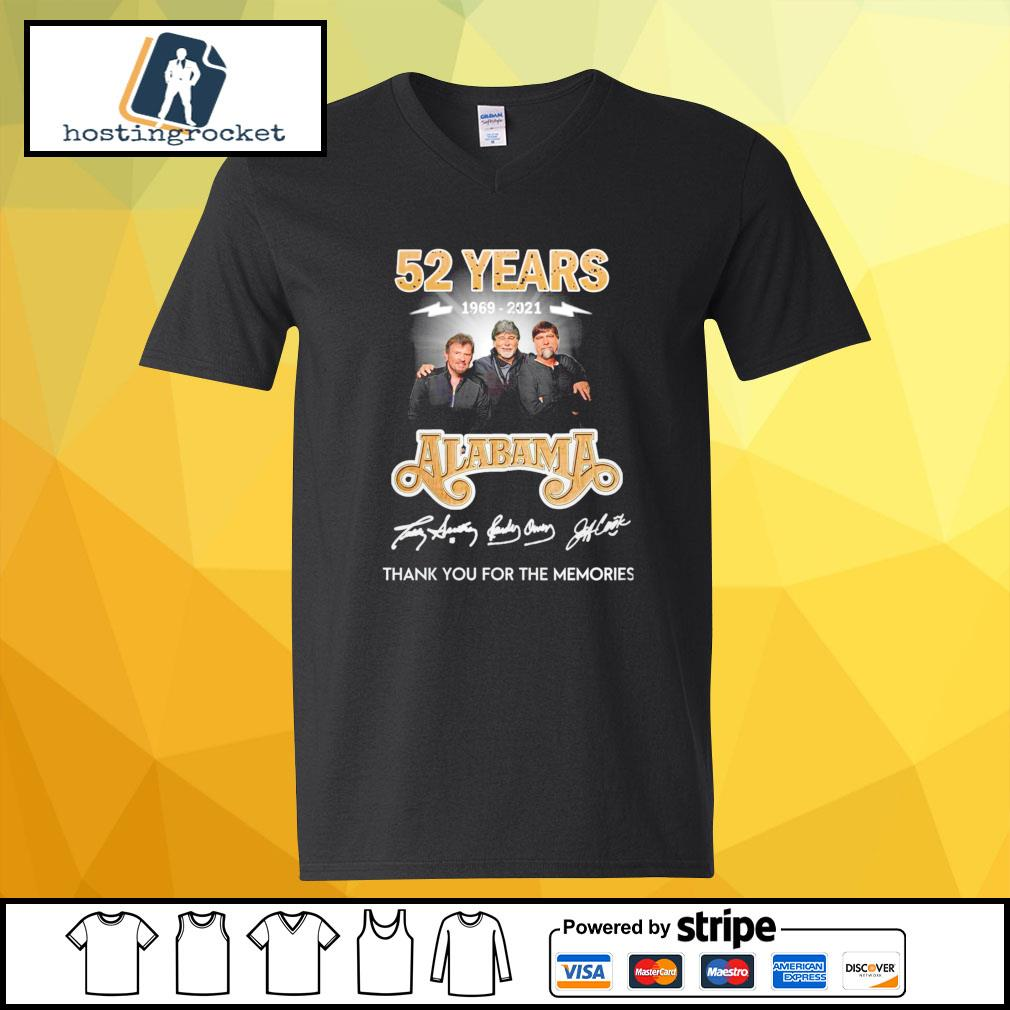 52 years 1969 2021 Alabama thank you for the memories signature v-neck-t-shirt
