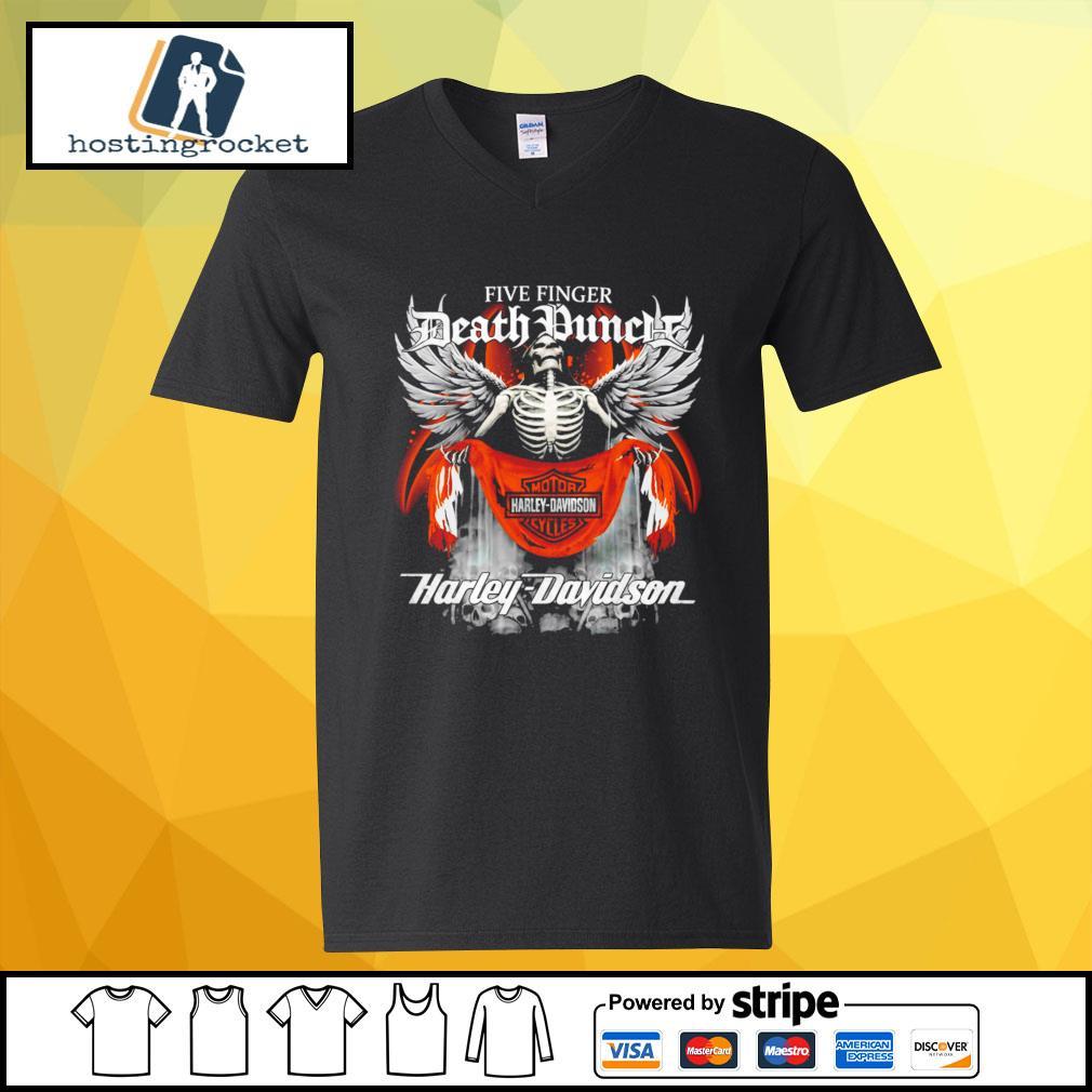 Official Five finger Death Punch Harley Davidson v-neck-t-shirt