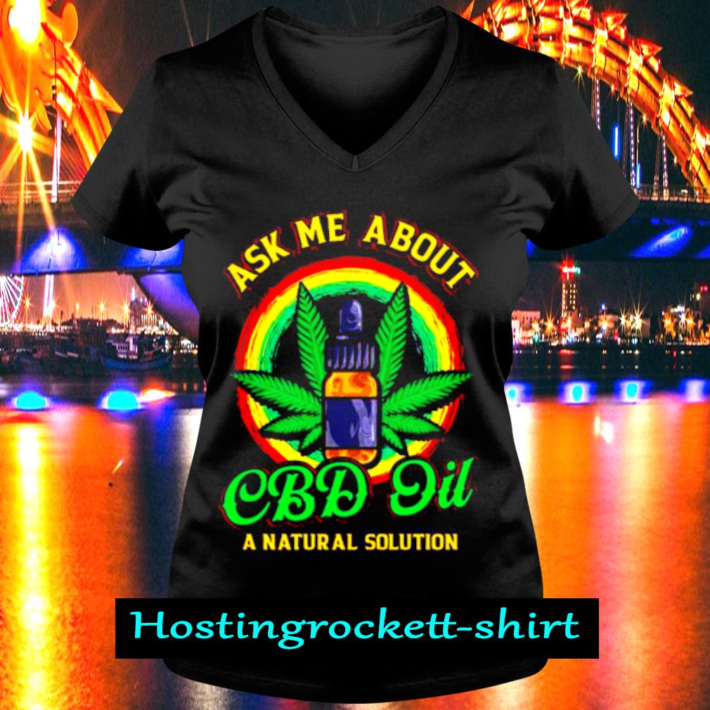 Official Weed Ask Me About Cbd Oil Shirt V-neck T-shirt