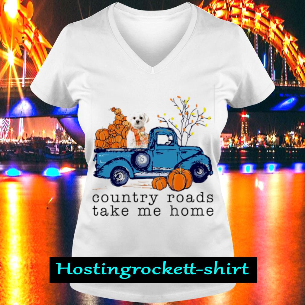 Poodle Country roads take me home s V-neck T-shirt