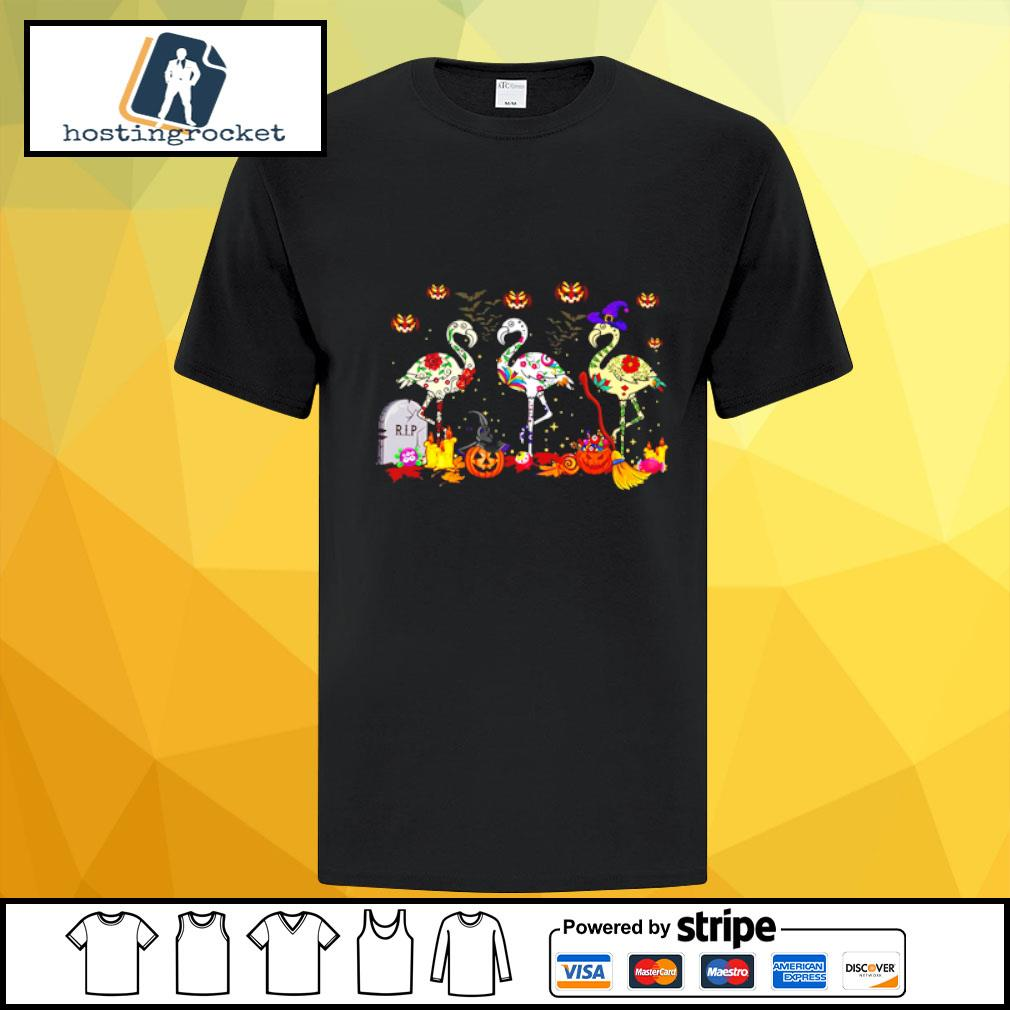 Flamingos In Costume Pumpkins Witch Grave Halloween shirt