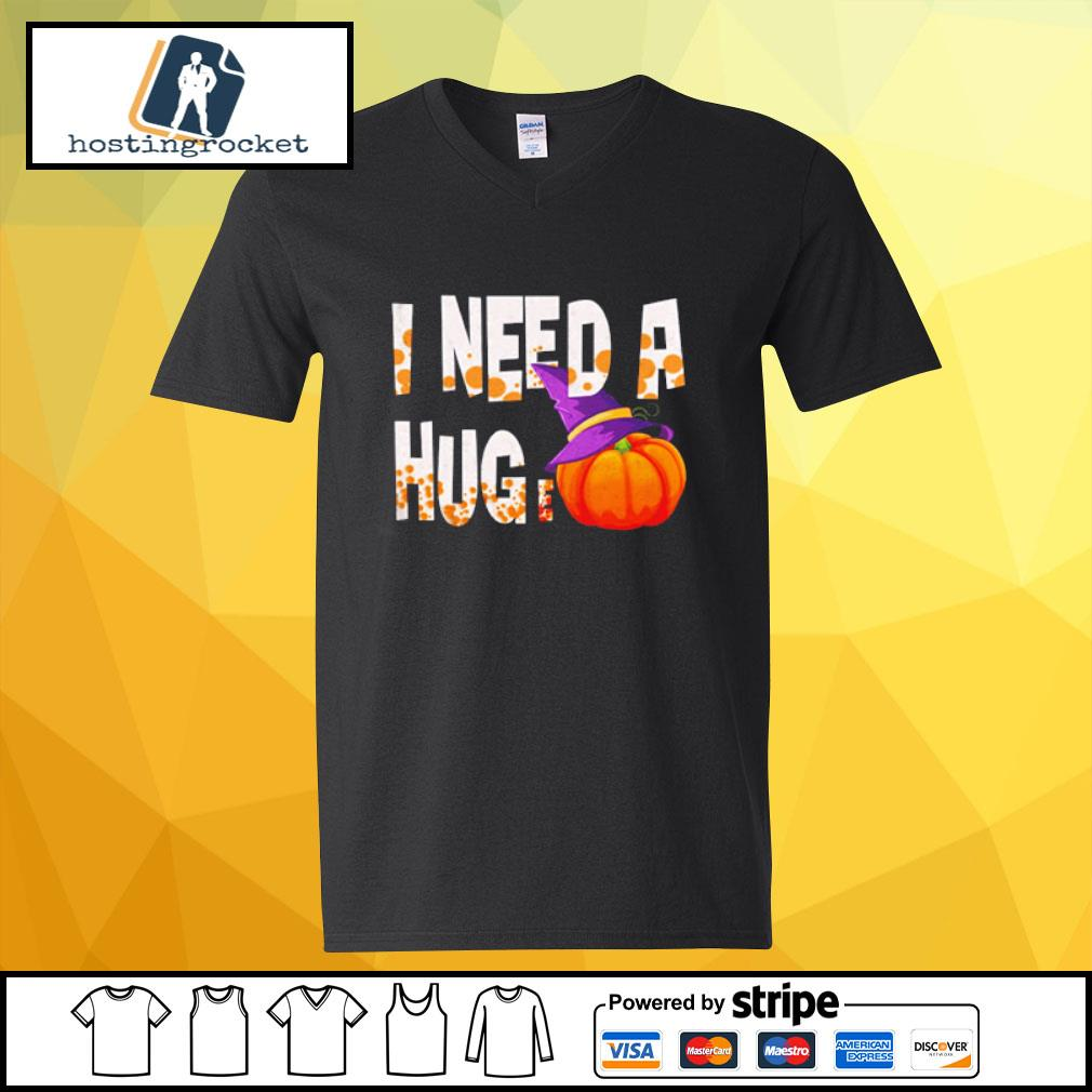 I Need A Hug-e Pumpkin Funny Halloween s v-neck-t-shirt