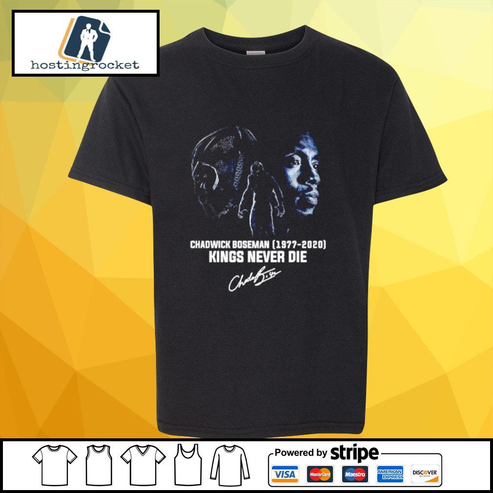 Official Chadwick Boseman 1977 2020 kings never die signature shirt