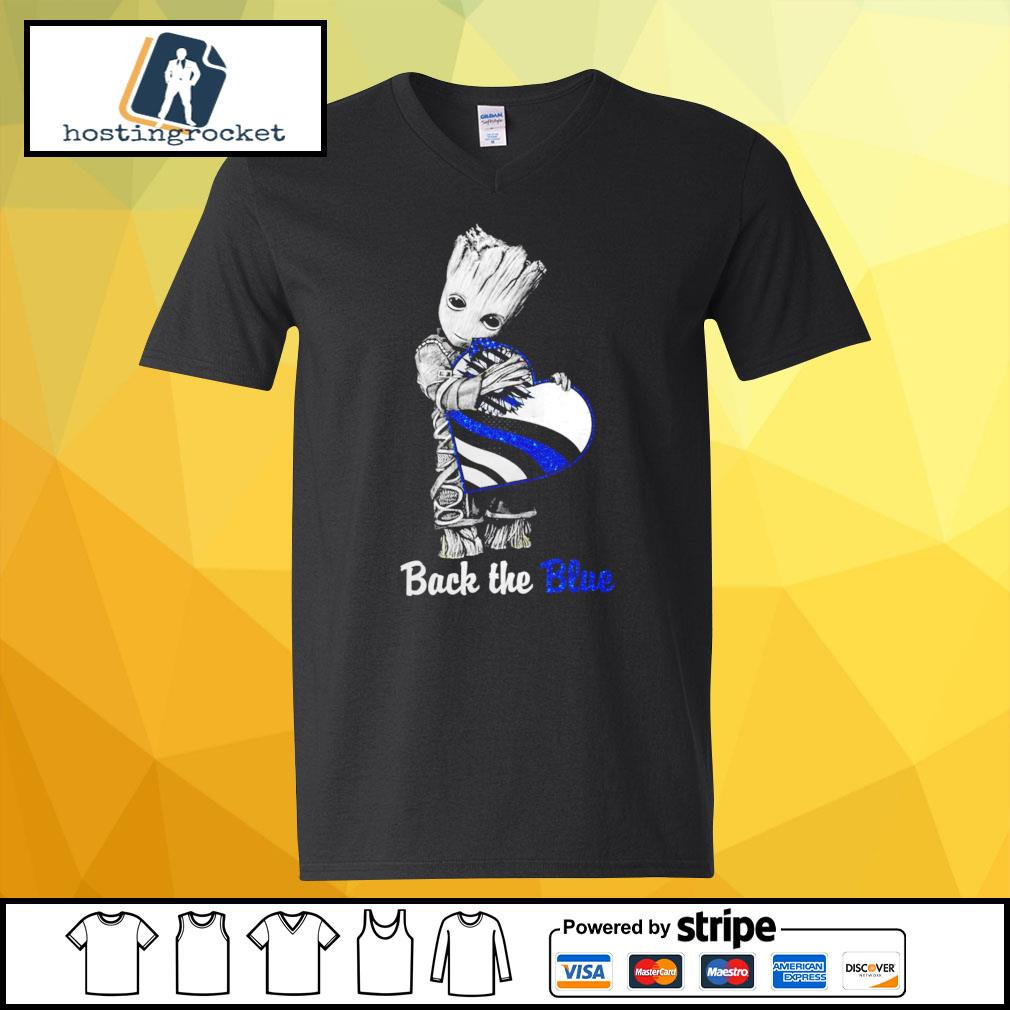 Back The Blue Baby Groot Shirt - Copy v-neck-t-shirt