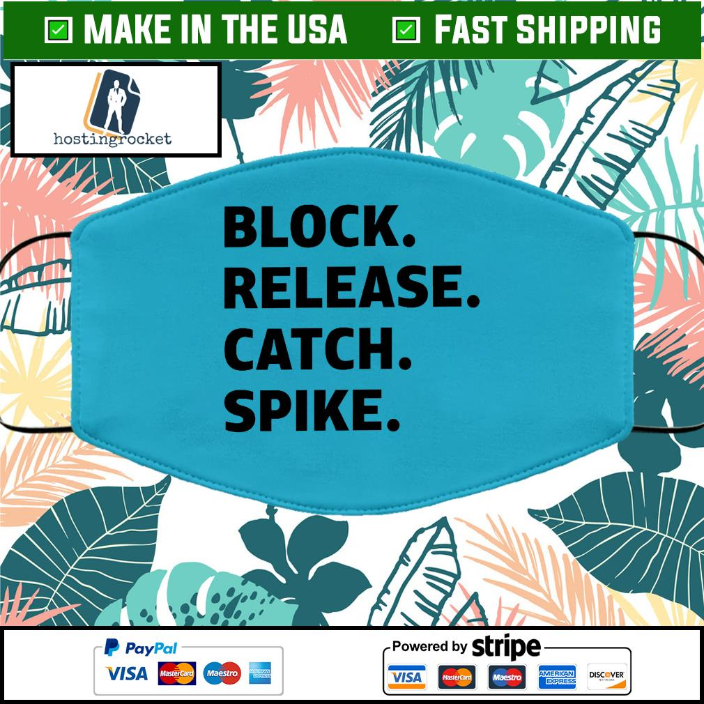 Block release catch spike Face Mask Washable Blue